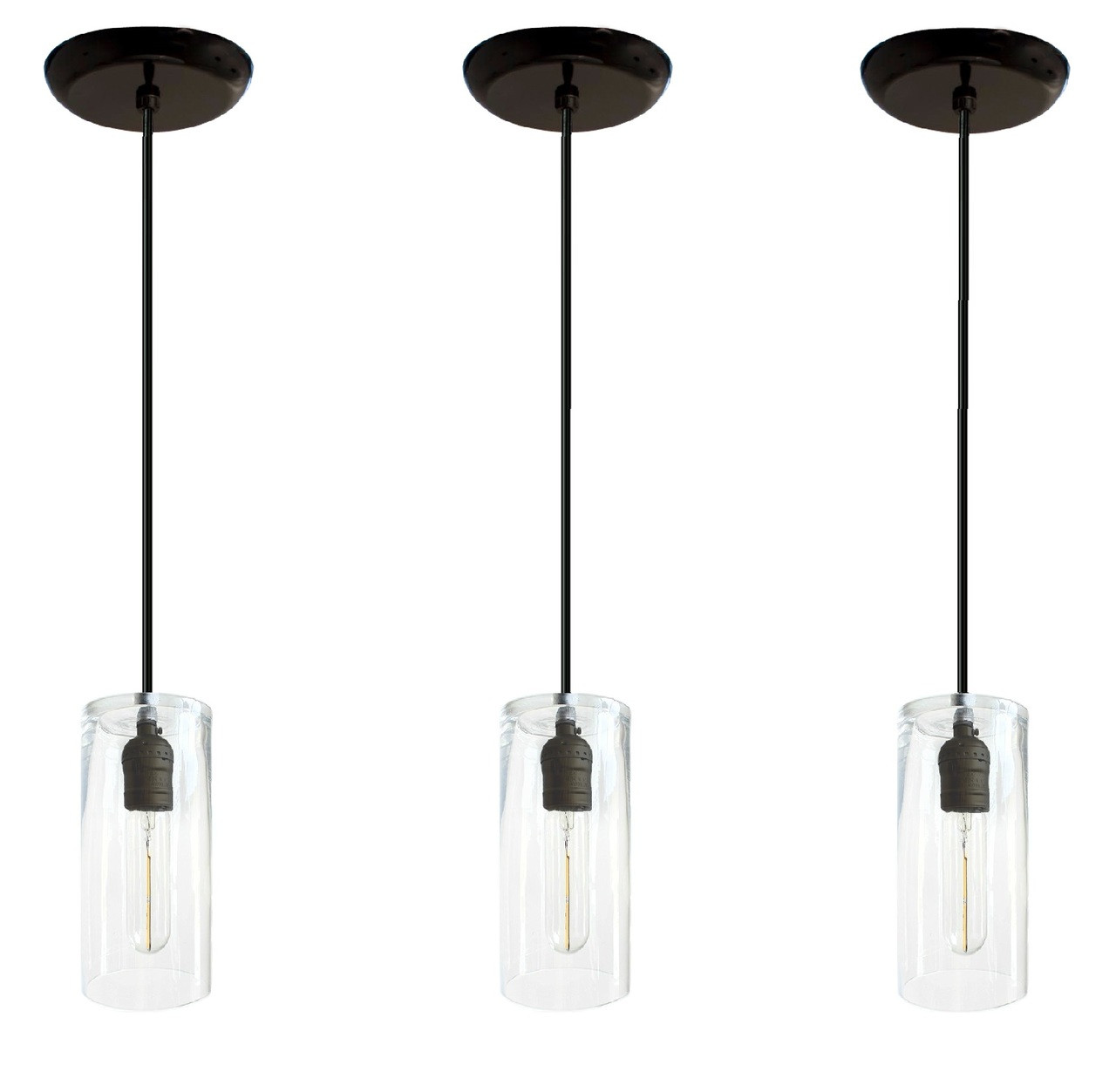 Three Black Hanging Pendant Lights For Over Kitchen Island