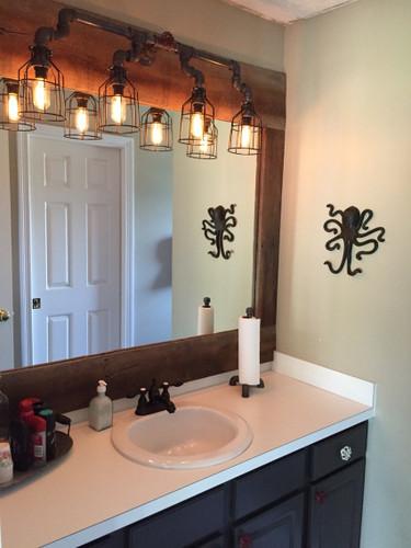 vanity lighting for industrial bathroom black pipe wall sconce w knob bathroom vanity lighting over mirror