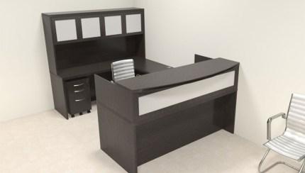 5pc Modern Contemporary U Shaped Glass Reception Desk Set Ro Abd R12 Color4office