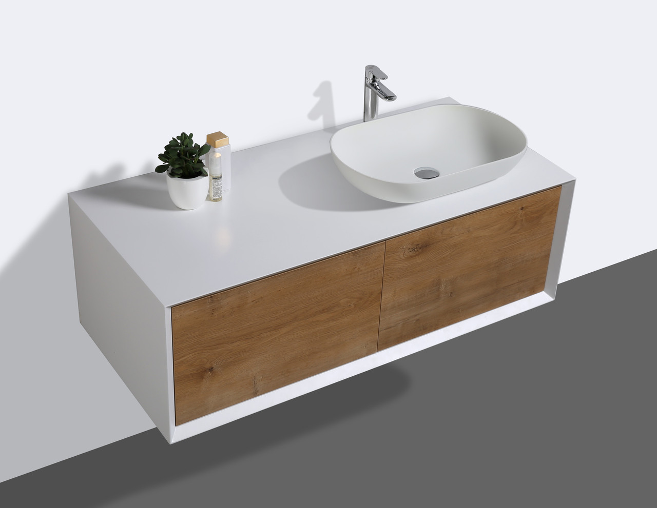 alma fiona 48 nature wood wall mount vanity with right side vessel sink