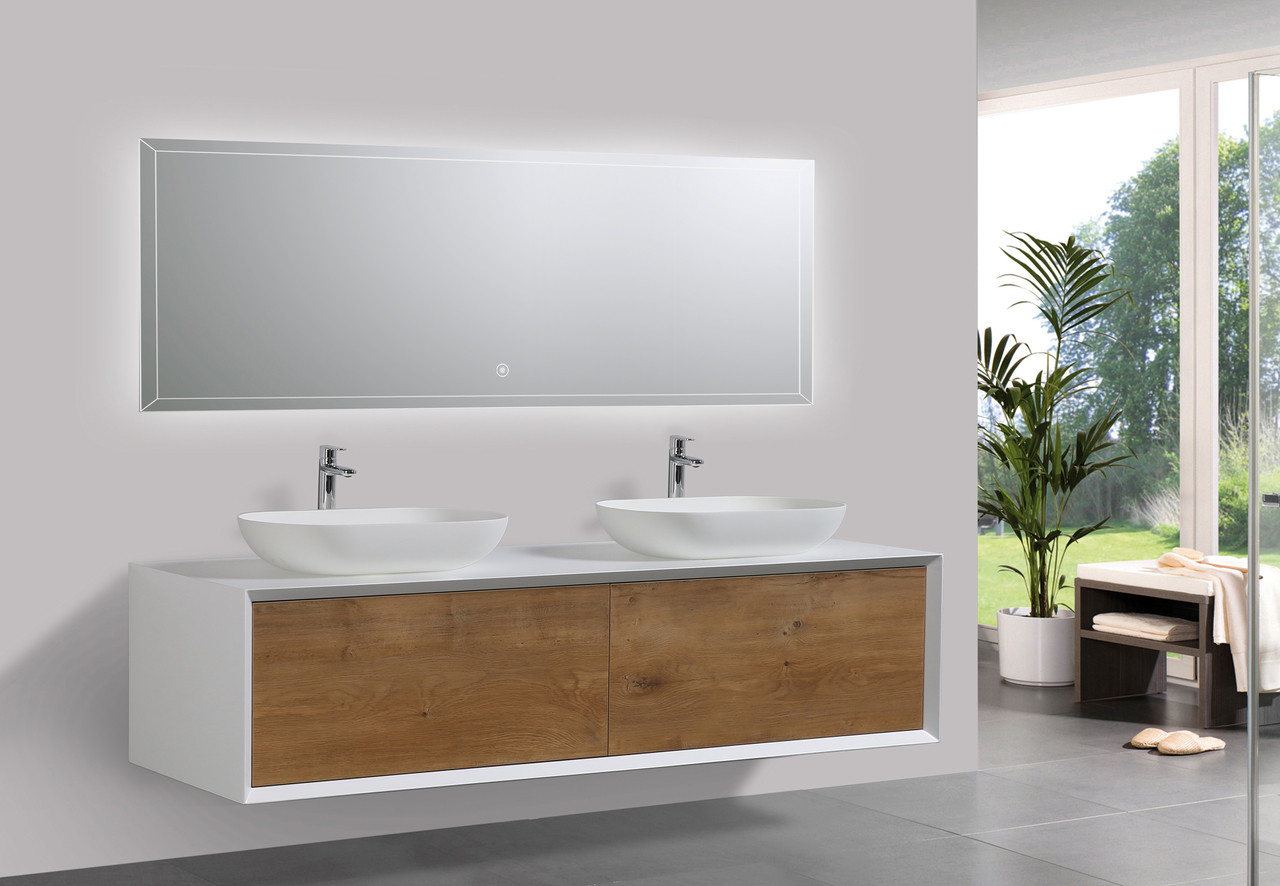 alma fiona 63 nature wood finish wall mount vanity with double vessel sink