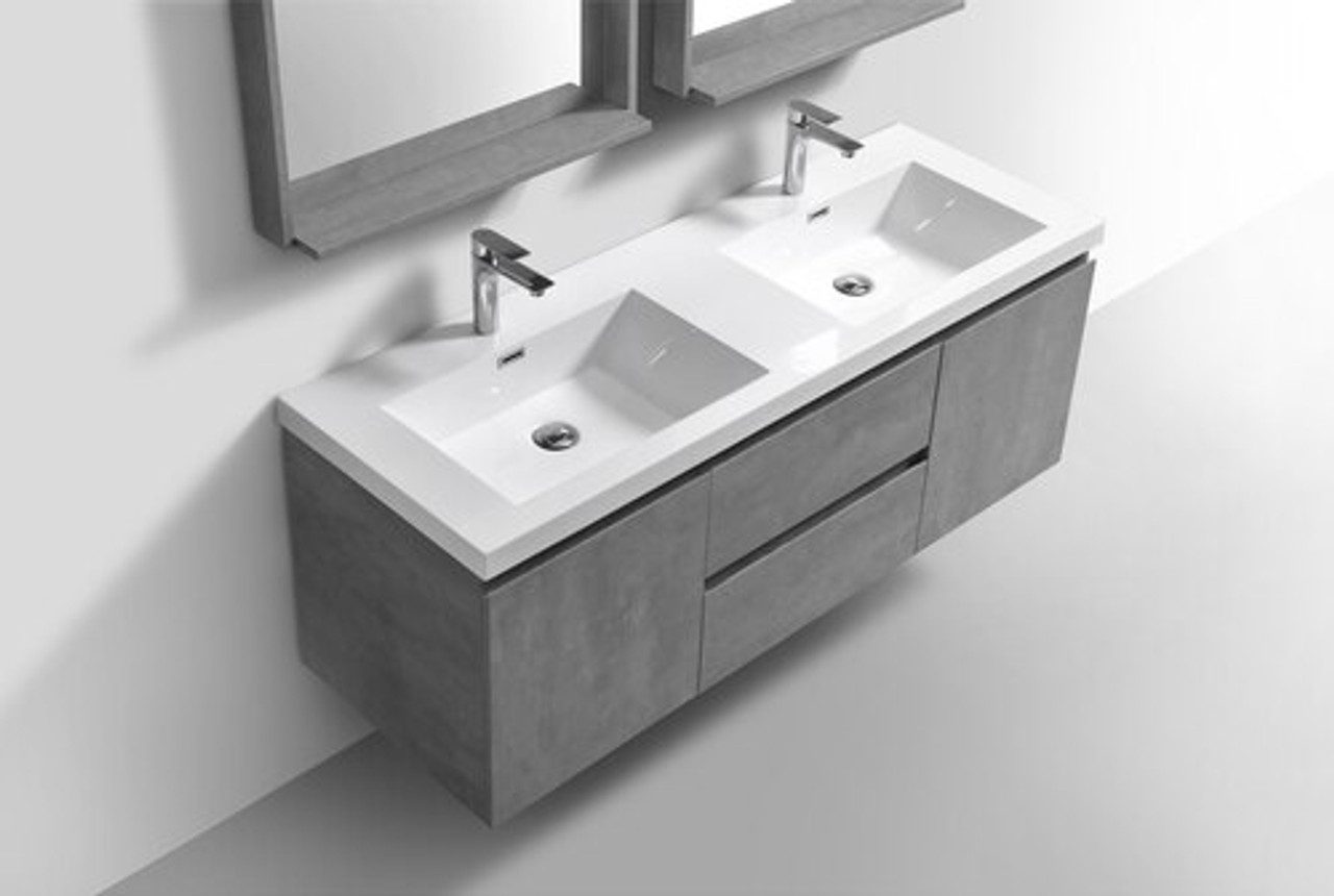 alma pre 60 cement grey double sink vanity with white sink