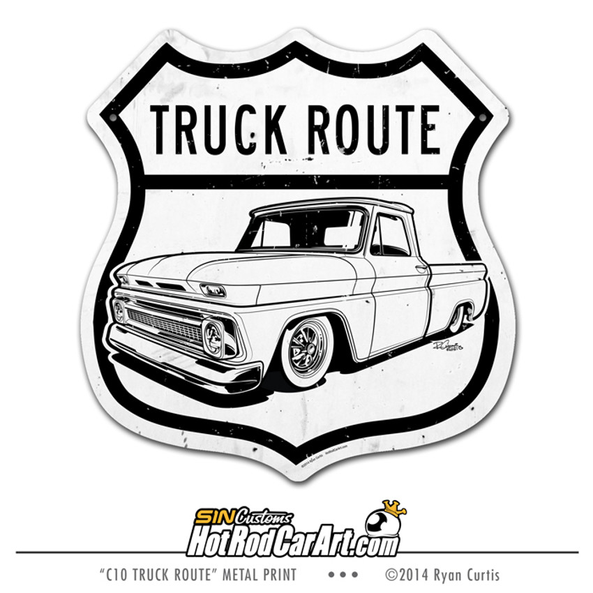 us truck route 1964 chevrolet c10 pickup ryan curtis sin customs hotrodcarart  [ 1280 x 1280 Pixel ]
