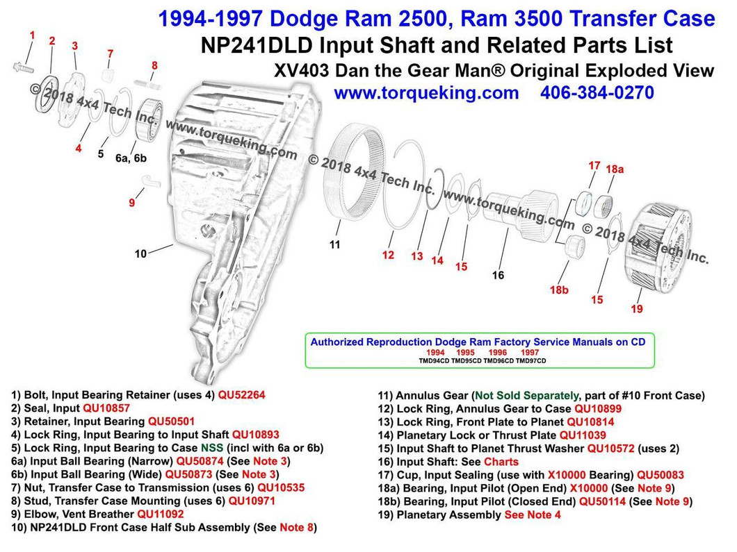hight resolution of new xv403 1994 1997 dodge ram np241dld transfer case input shaft parts exploded view