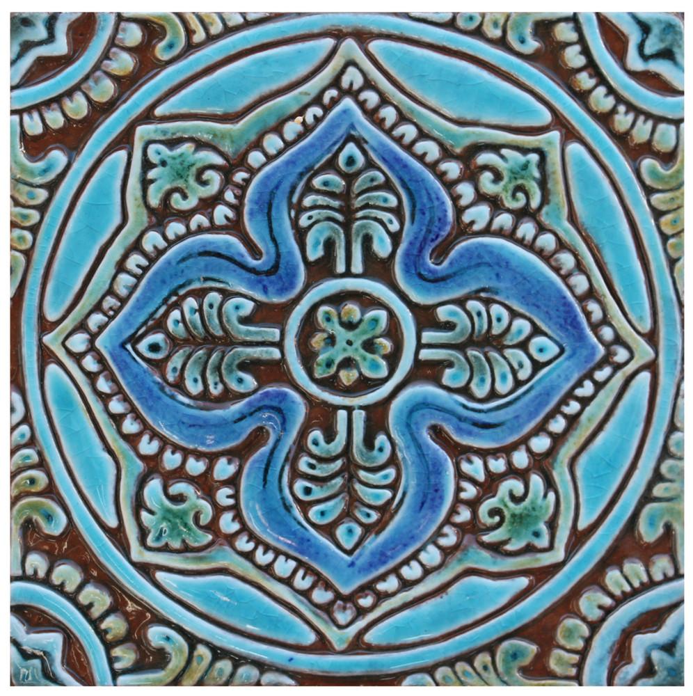 handmade tile turquoise mandala 4 20cm 7 8