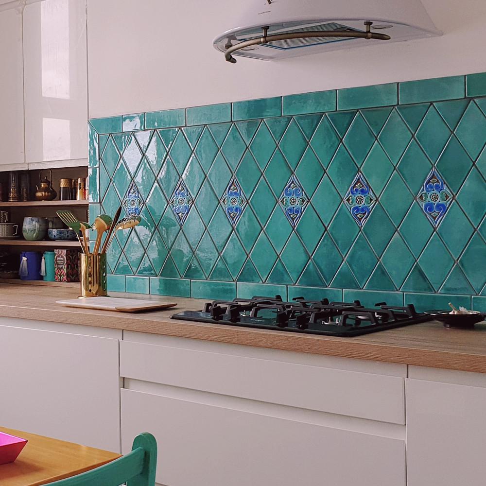 handmade tile diamond turquoise moroccan 11 2x19 5cm 4 4x7 6