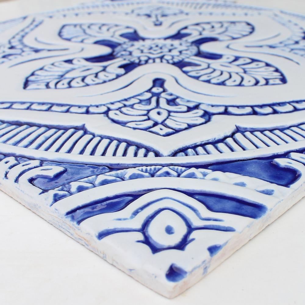 large handmade tile mandala 5 blue