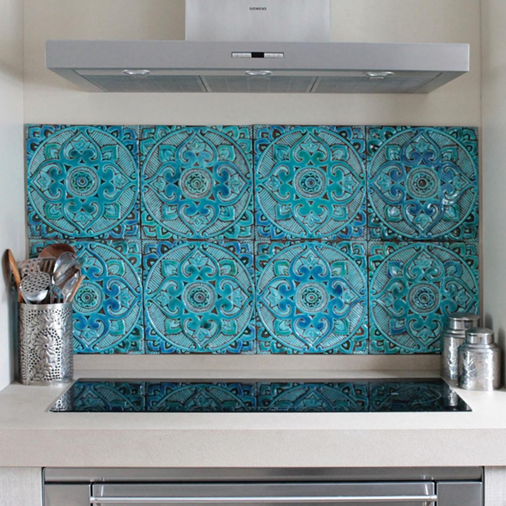 handmade tile turquoise mandalita liso 30cm 11 8