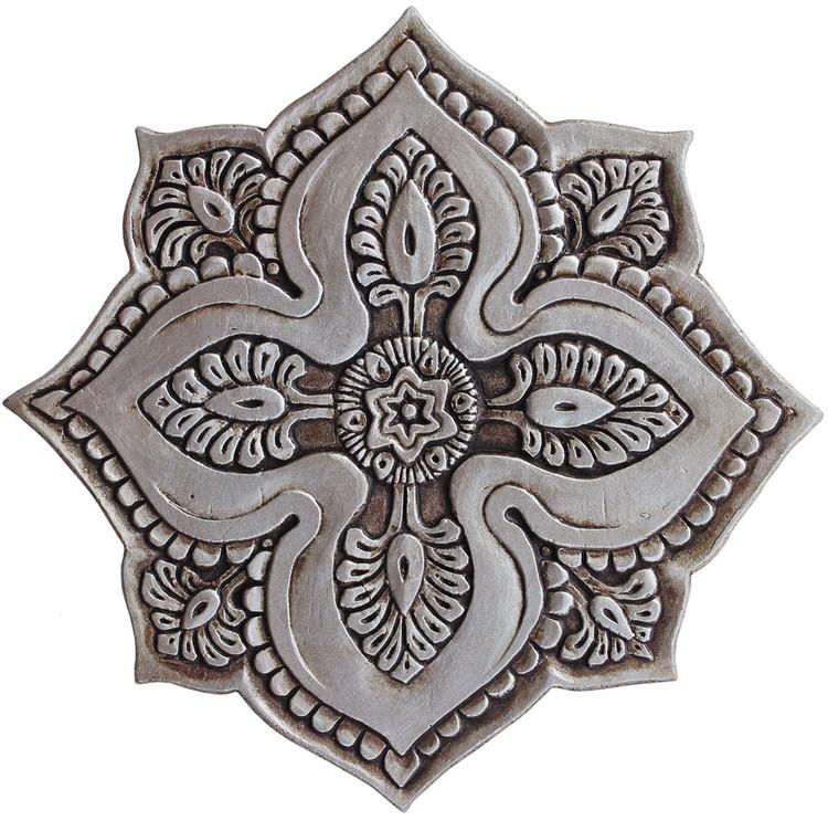 ceramic wall art silver mandala 5 r 28cm 11