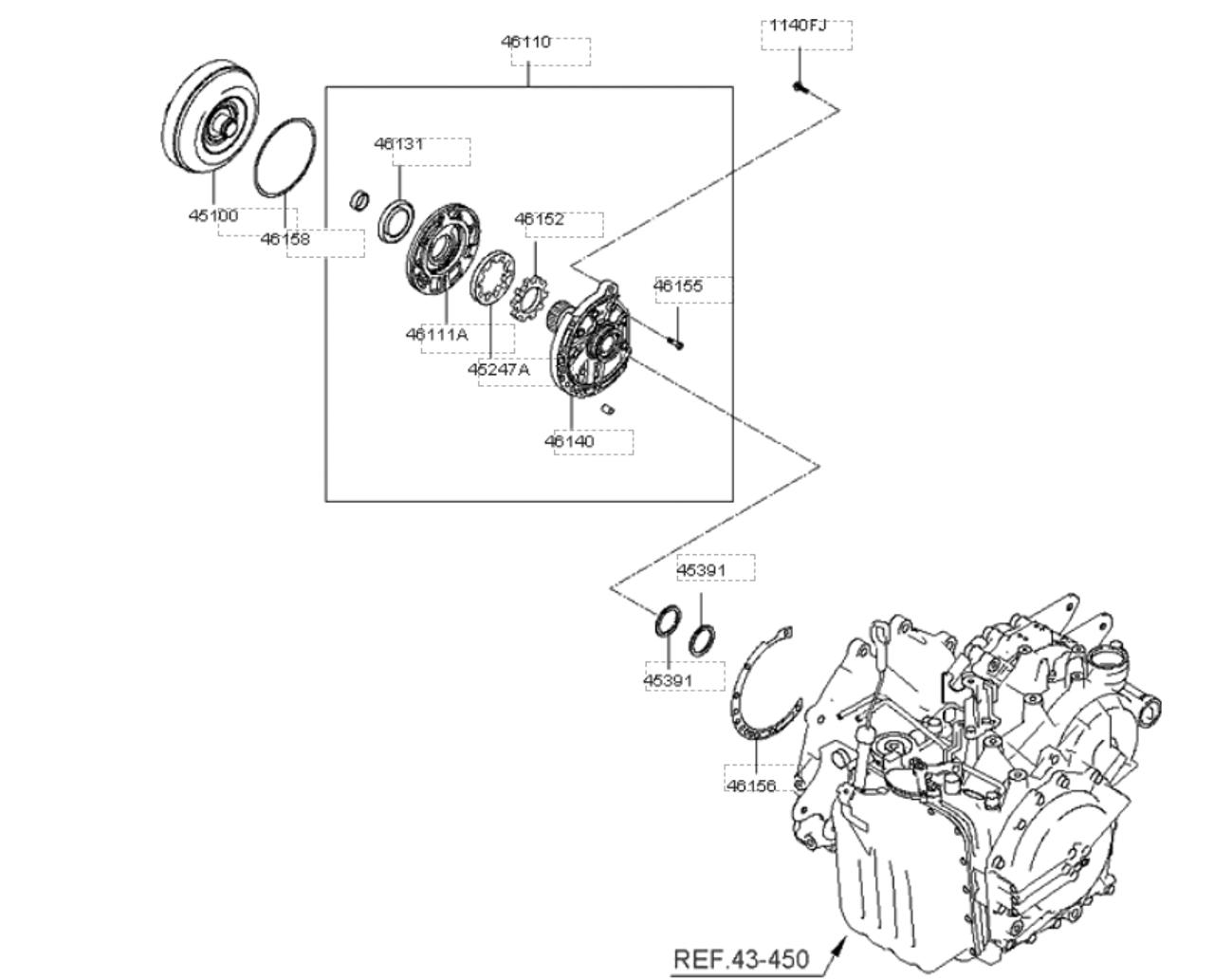geuine converter assy torque 451003a200 for hyundai grandeur tg azera 2006 2010  [ 1280 x 1033 Pixel ]