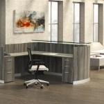 Mayline Medina Gray Steel L Shaped Reception Desk