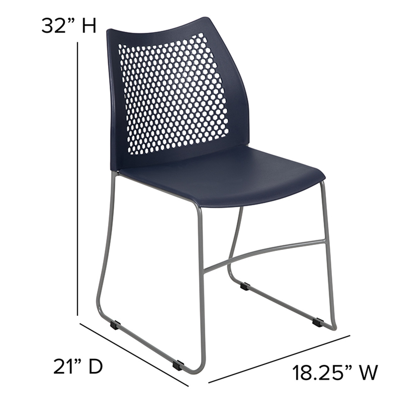 Flash Furniture Big And Tall Navy Plastic Stack Chair