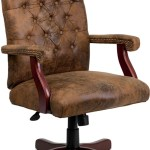 Flash Furniture Bomber Brown Tufted Suede Executive Swivel Office Chair