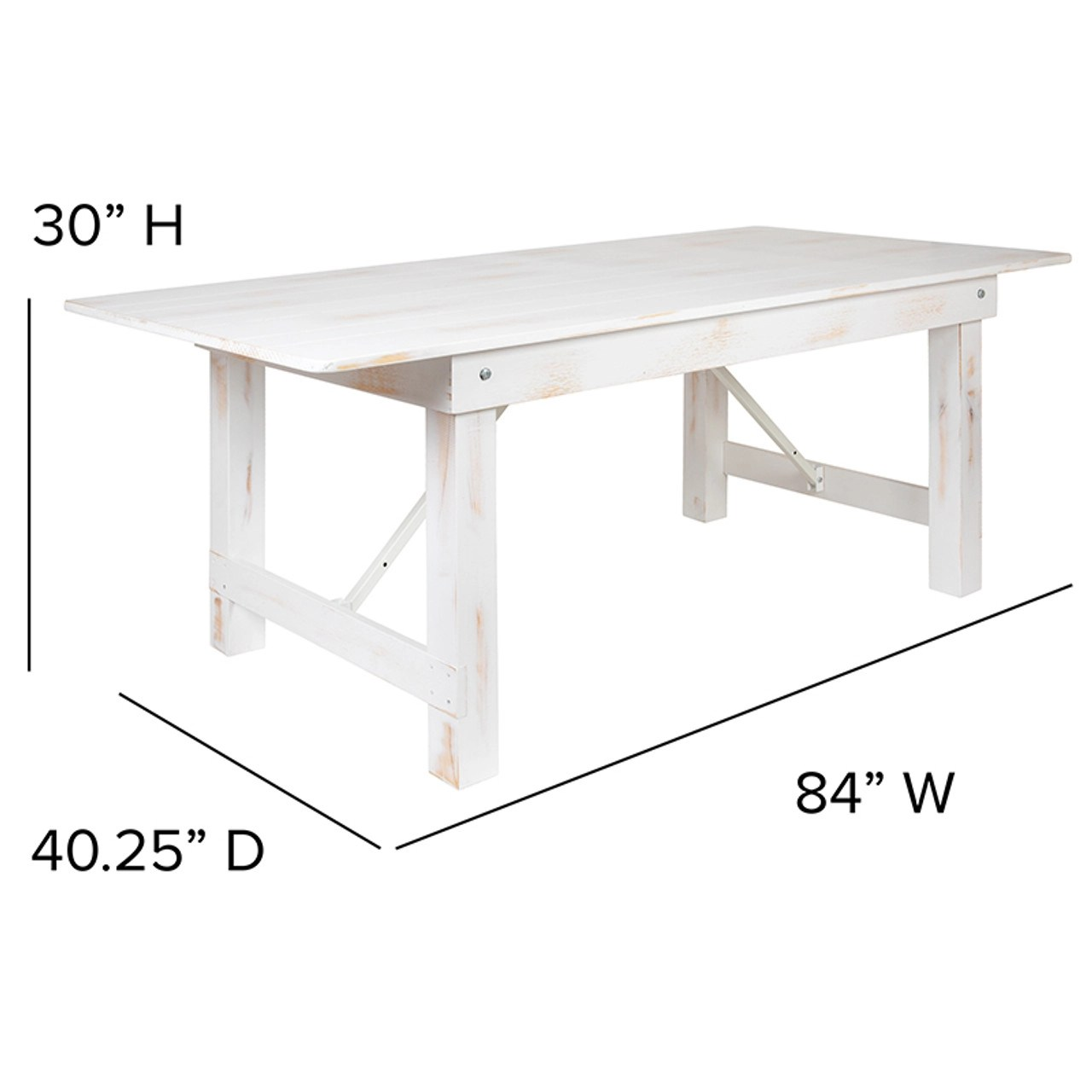 flash furniture 7 distressed white farm table with folding legs