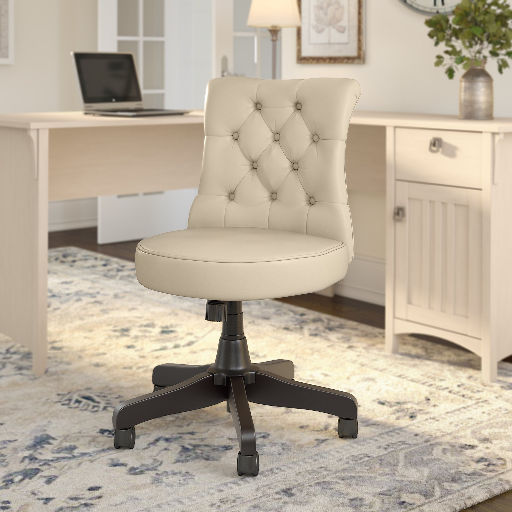 hight resolution of bush business furniture arden lane chair in antique white leather