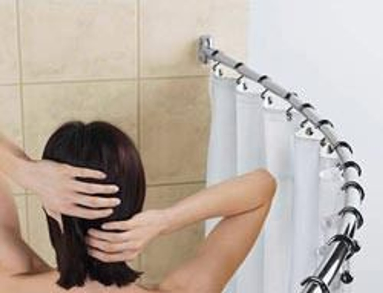 Curved Shower Rod 6 Foot Long Hotel Style