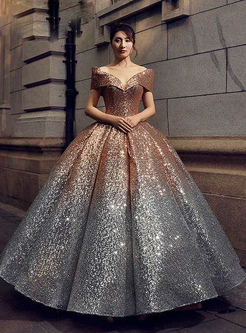ball gown gold silver