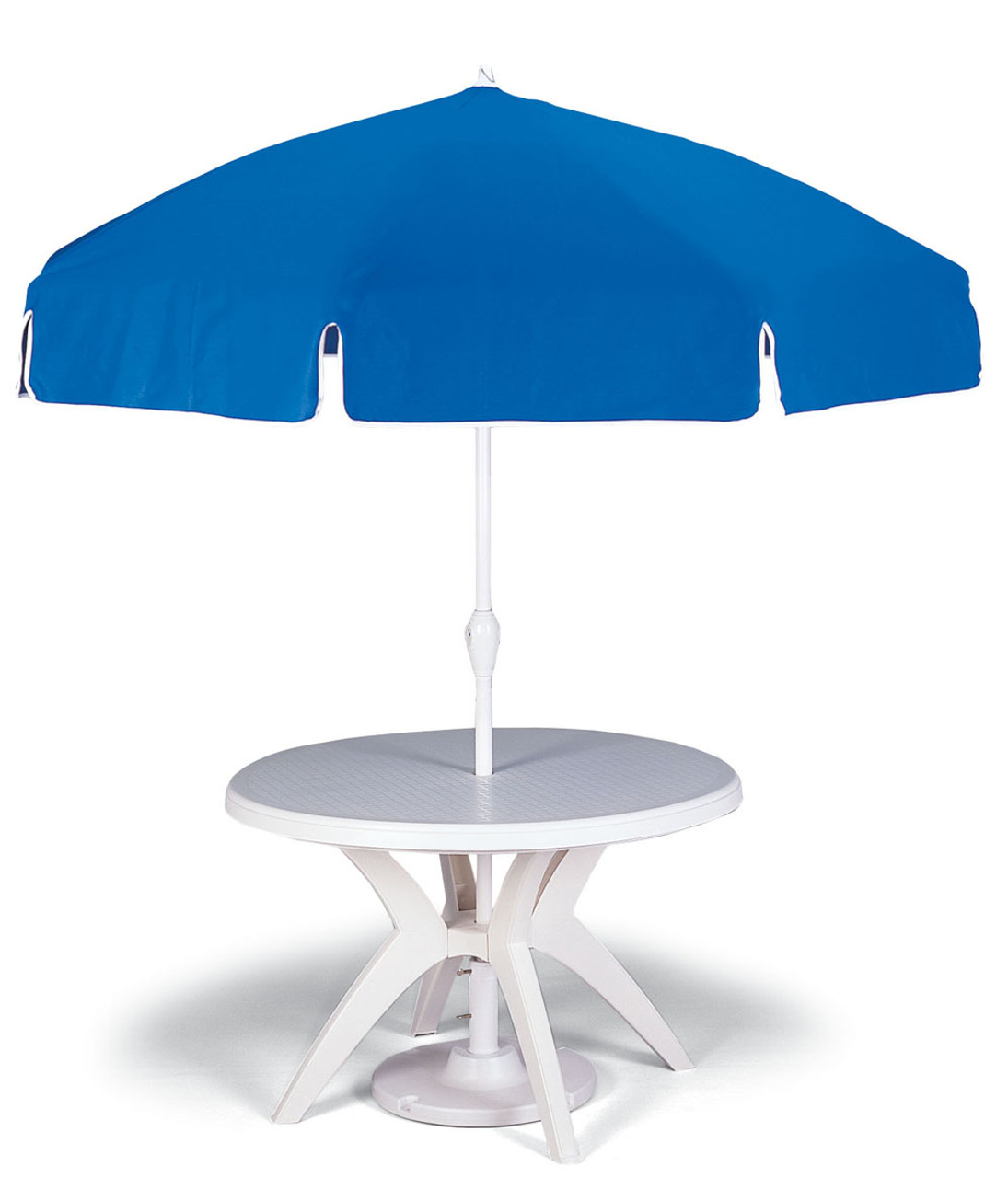 46 round white outdoor resin ibiza restaurant pedestal table with umbrella hole from grosfillex