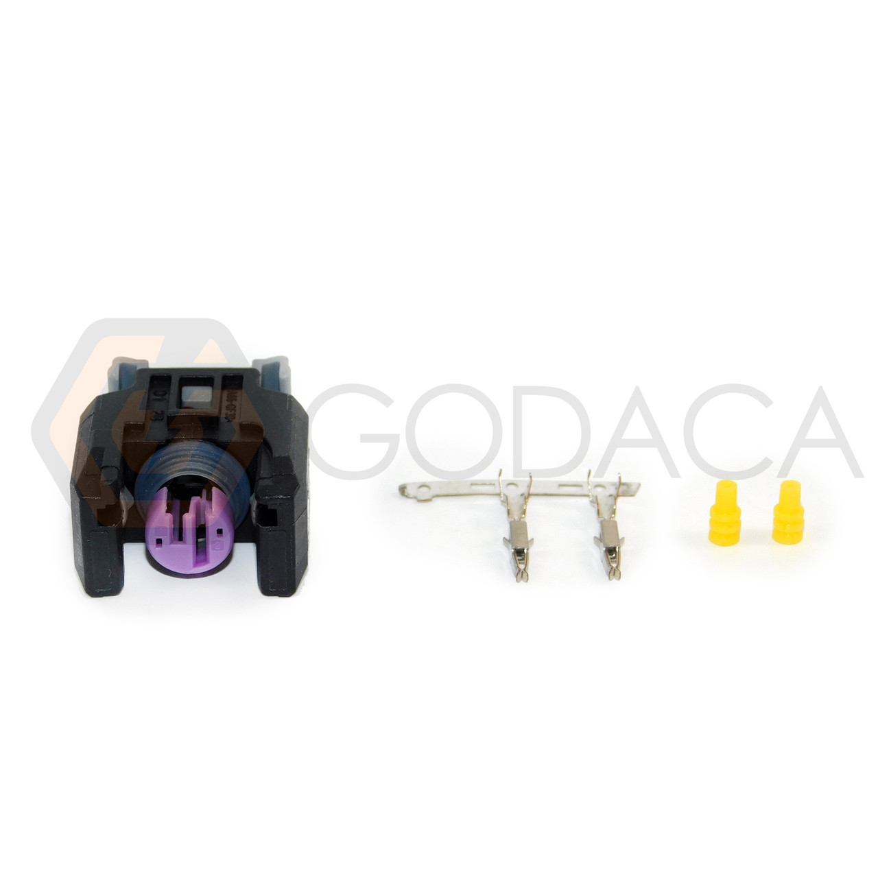 medium resolution of 1x connector 2 way 2 pin for fuel injector 13816706 delphi w out wire godaca llc