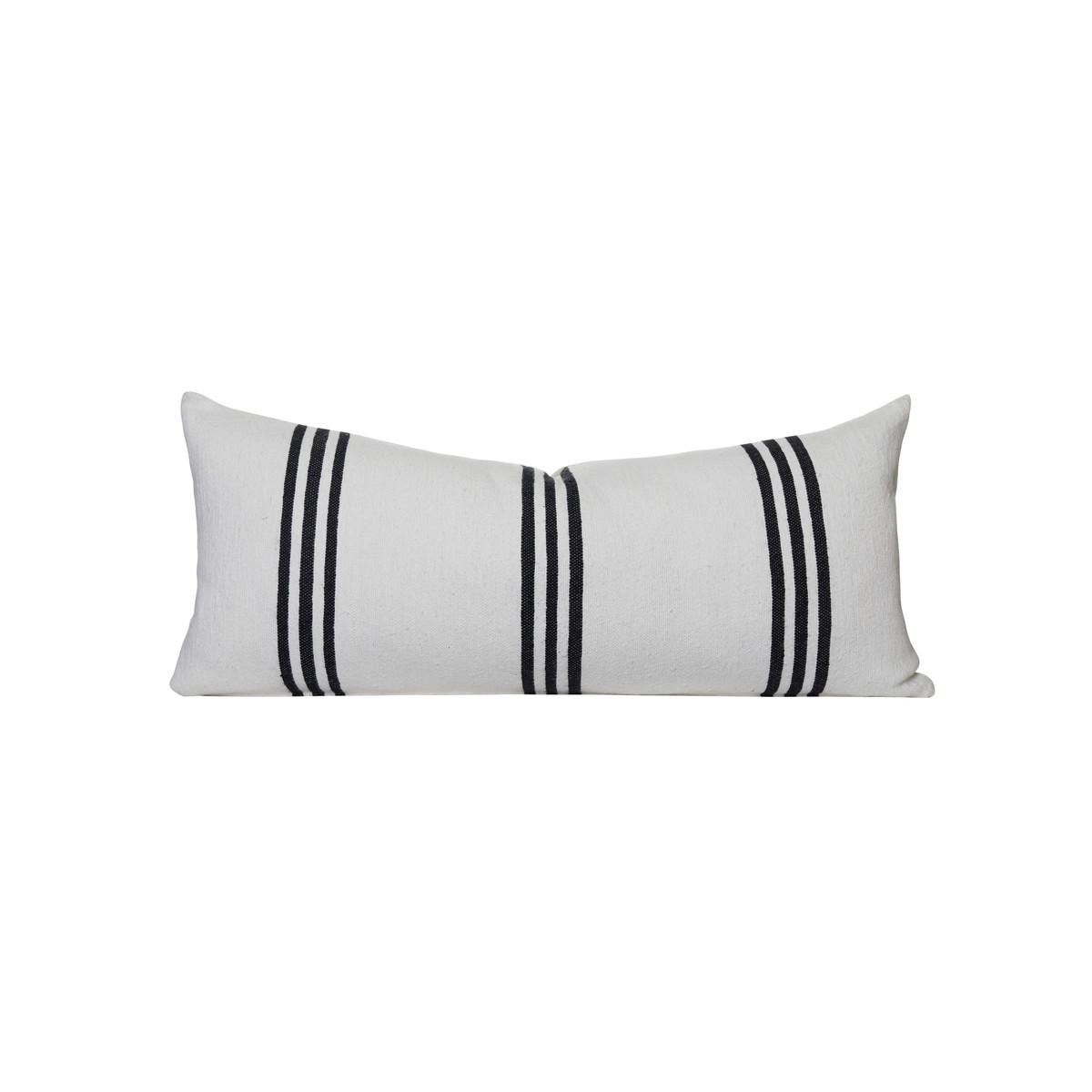three stripe lumbar pillow white