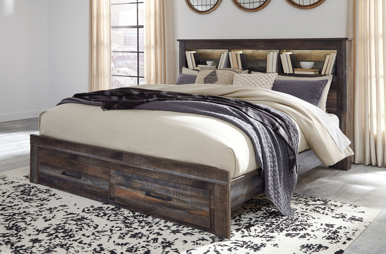 The Drystan Multi King Bookcase Storage Bed Available At Bitney S Furniture And Mattress Company Serving Kalispell Mt