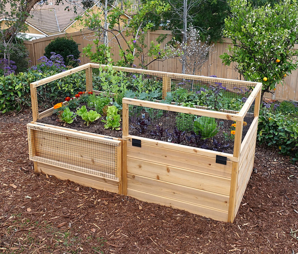 3 x 6 Raised Garden Bed With Hinged Fencing  Eartheasycom