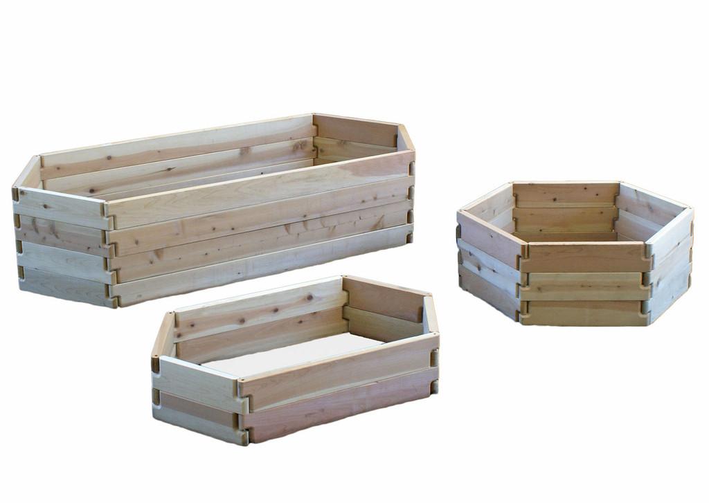 natural cedar u shaped raised garden beds