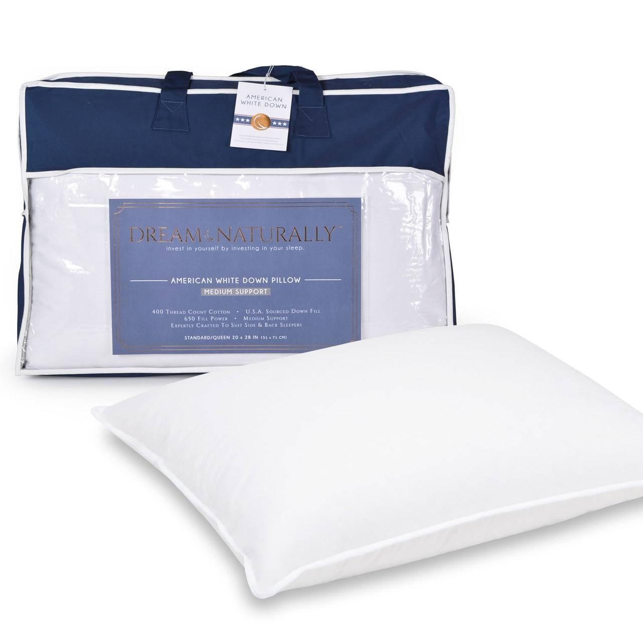 dream naturally 650 fill power 400 tc usa down pillow multiple densities