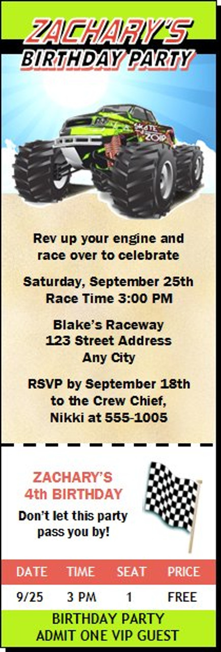 monster truck birthday party ticket invitation set of 12