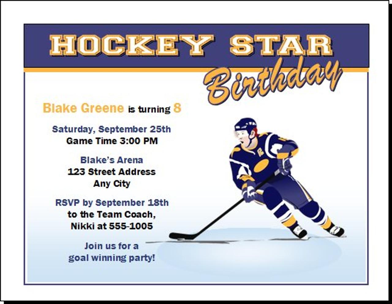 hockey birthday party invitation set of 12