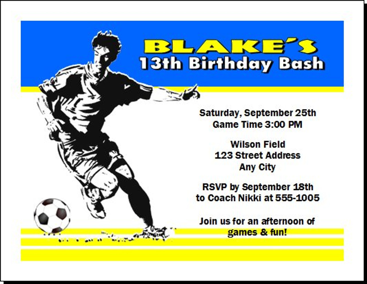 soccer player birthday party invitation set of 12