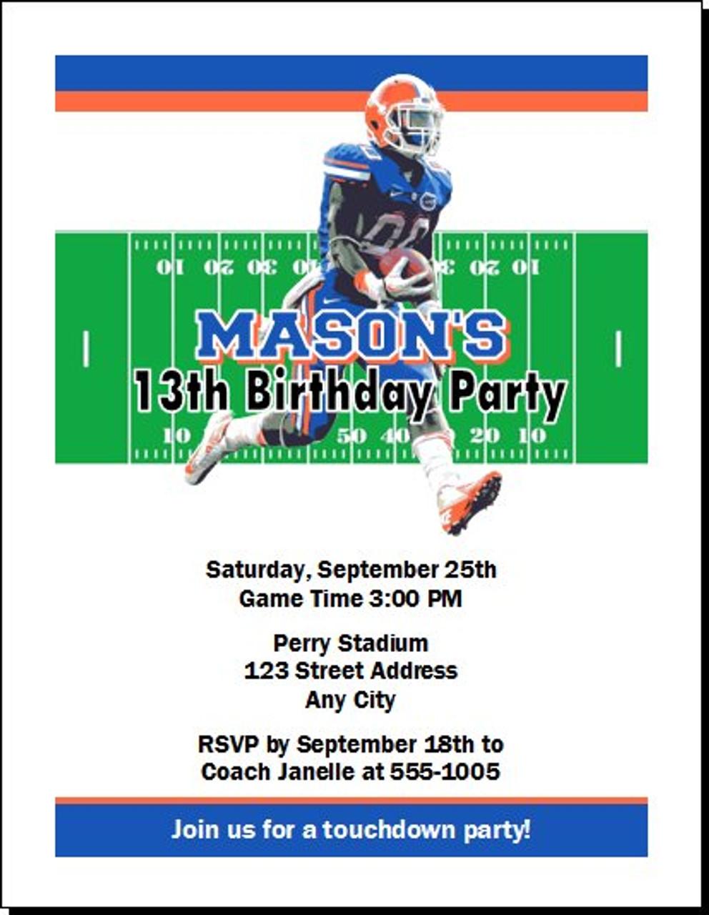 florida gators colored football birthday party invitation set of 12