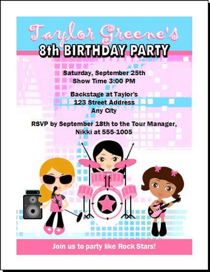 girl rock band birthday