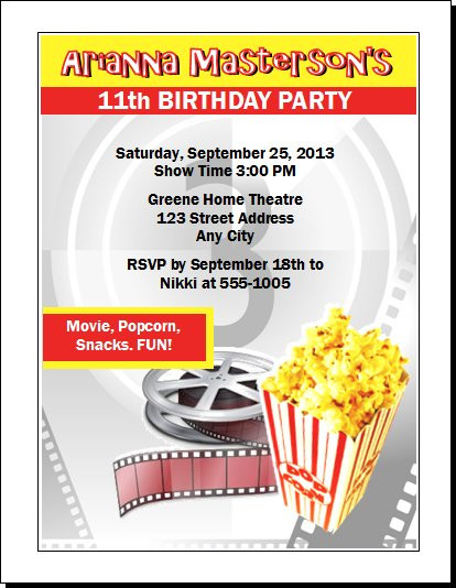 movie party birthday party