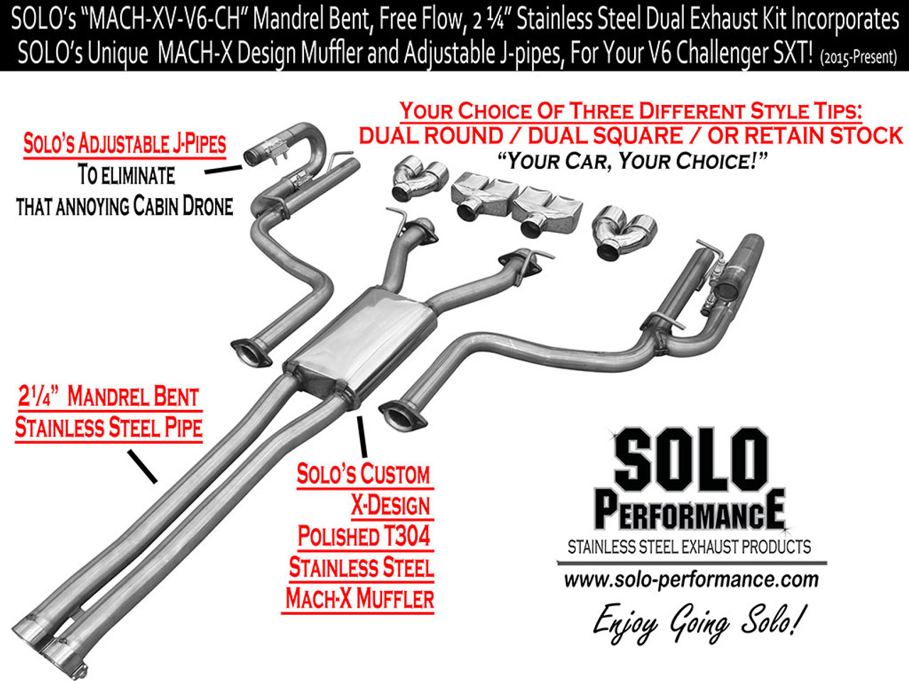solo performance mach xv cat back exhaust square tips 2015 dodge challenger sxt v6 991162