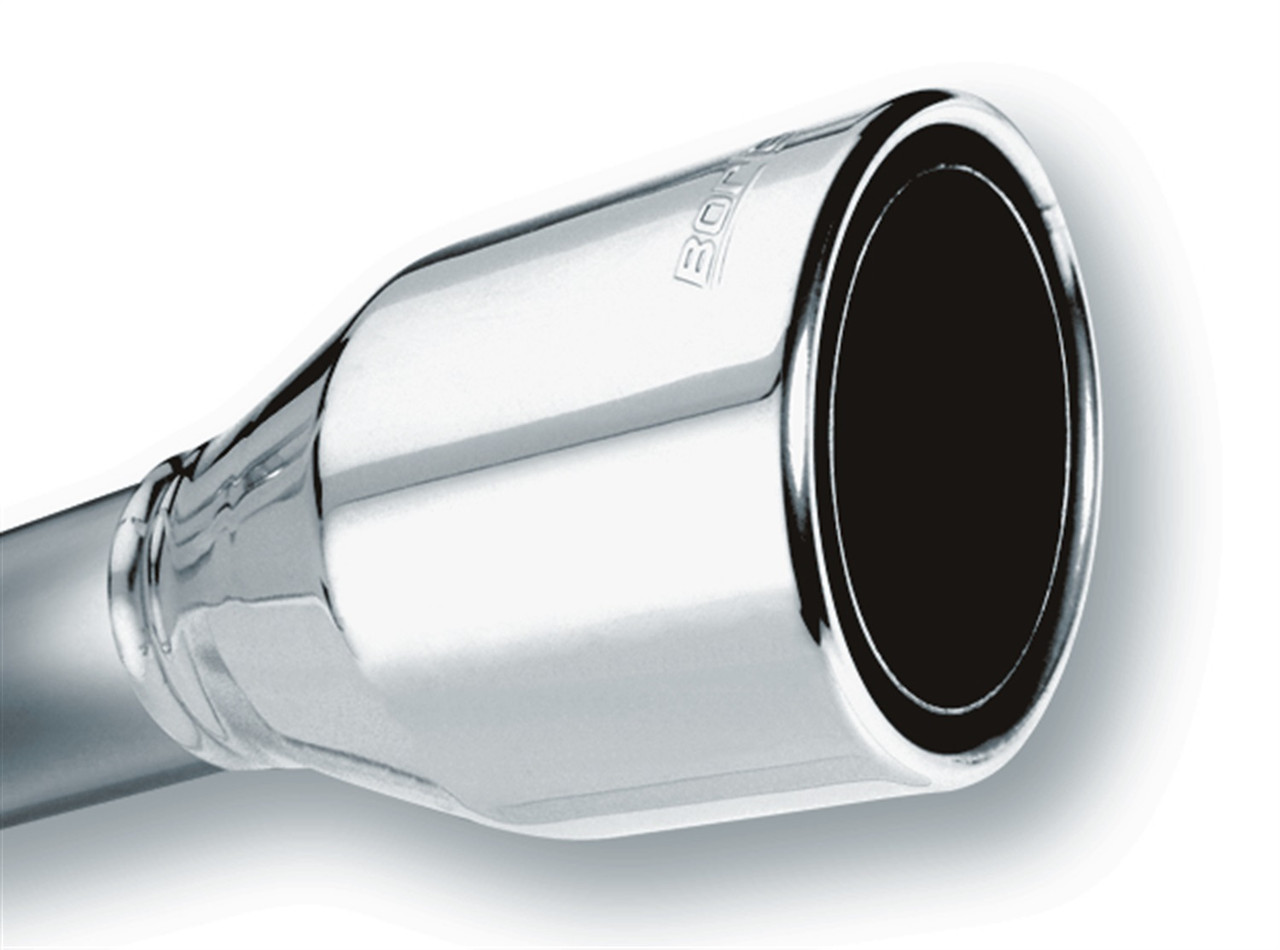 borla 2 5in inlet 4 5in round rolled angle cut phantom x 7 75in long embossed universal exhaust tips 20247