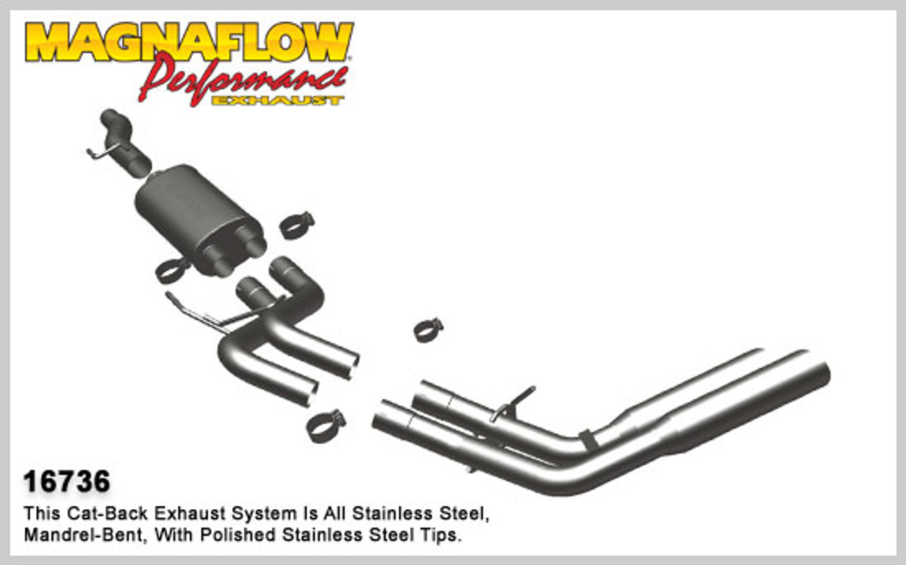 magnaflow performance stainless cat back exhaust system 2009 2010 ford f 150 4 6l 5 4l standard cab 78 bed 16736