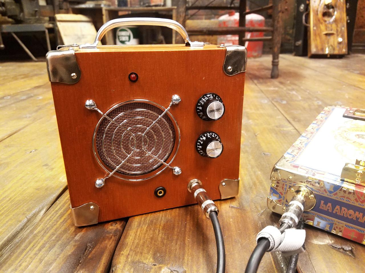 hight resolution of  cigar box guitar dual input amplifier solid wood acid box model 5