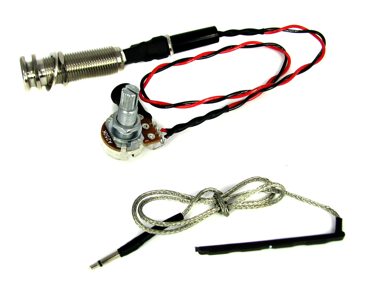 hight resolution of ukulele rod piezo harness with volume endpin strap button jack no solder