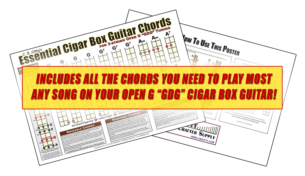 medium resolution of open g gdg essential cigar box guitar chords poster