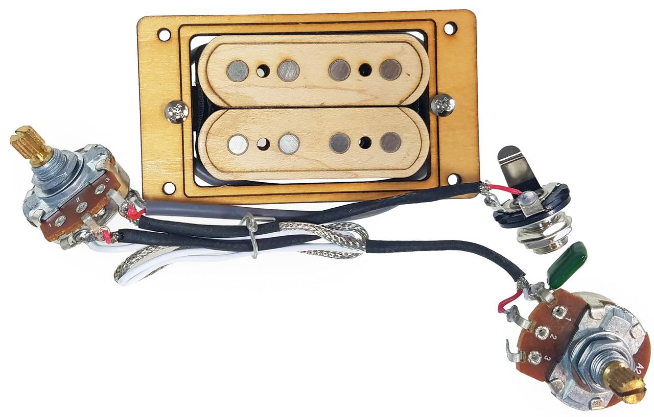 medium resolution of deltabucker deluxe 4 string maple cigar box guitar humbucker pickup cigar box guitar complete wiring harness with pickup no soldering