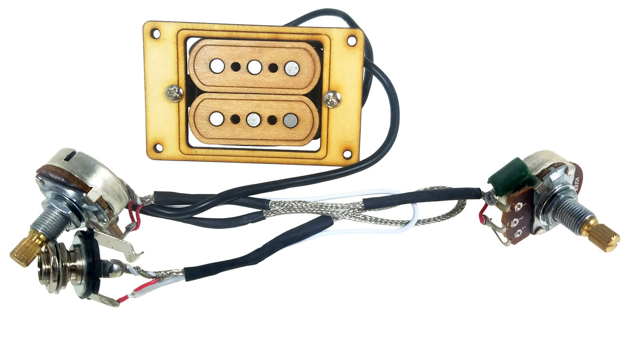 deltabucker deluxe 3 string maple cigar box guitar humbucker pickup pre wired  [ 1280 x 696 Pixel ]