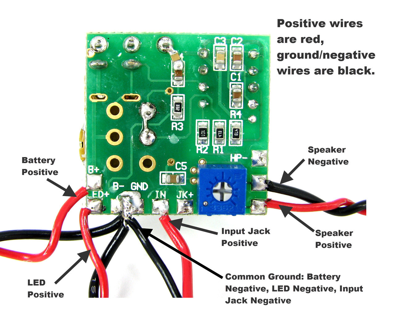 medium resolution of  2 5w artec amp circuit board with pre wired leads