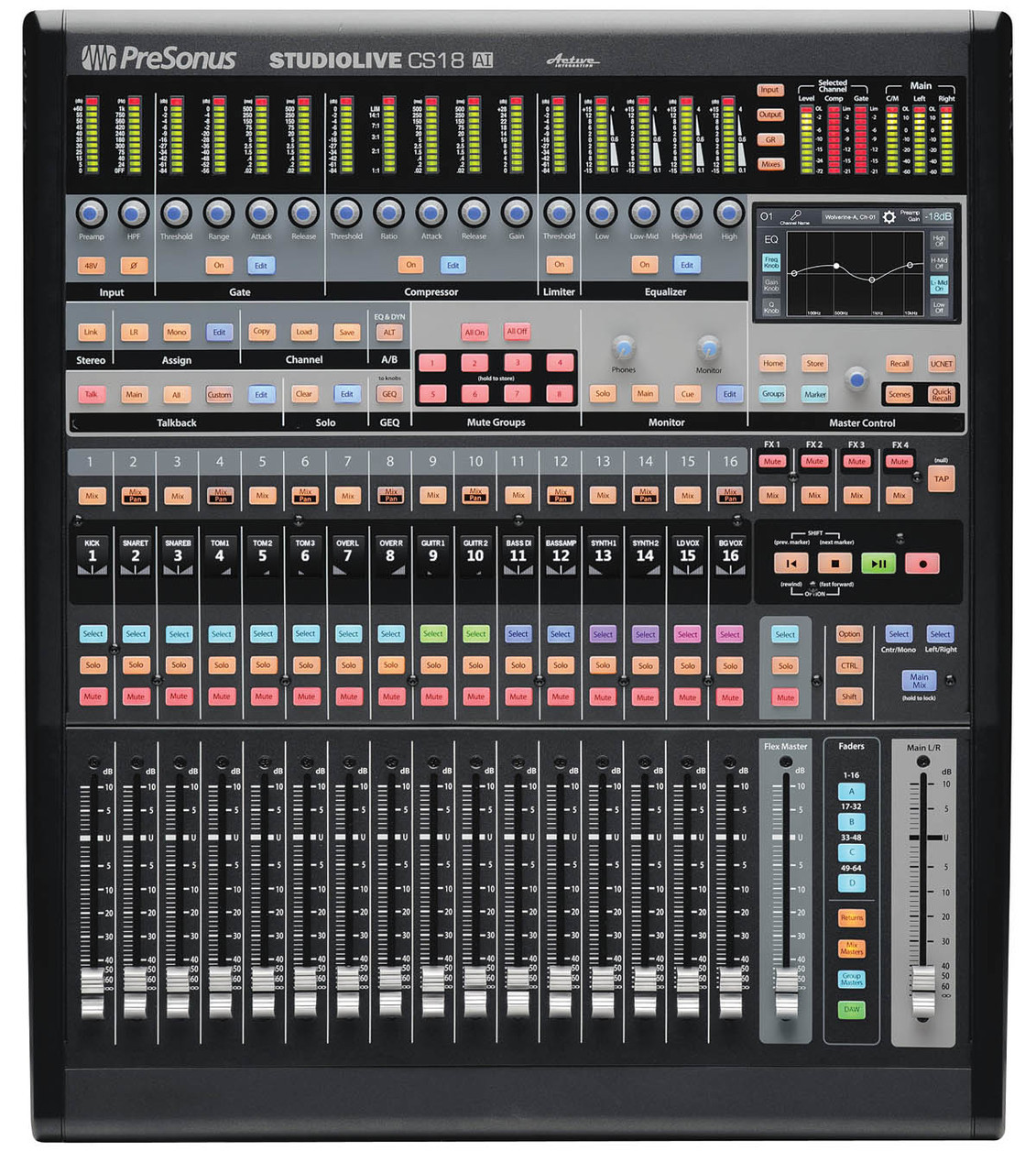 cs18ai ethernet avb control surface for studiolive rm mixers and studio one daw [ 1131 x 1280 Pixel ]