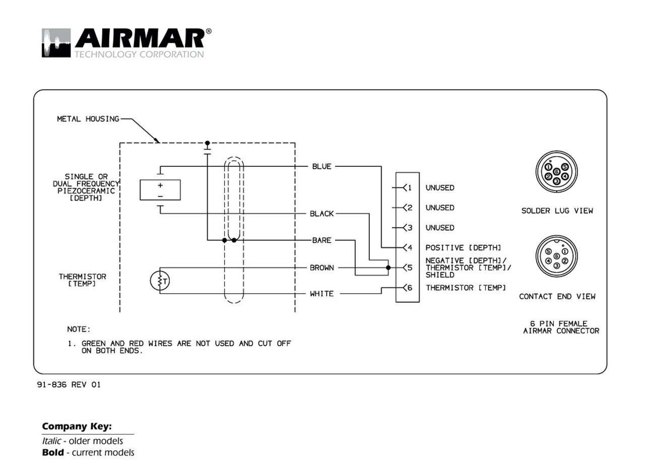 medium resolution of depth temperature transducers with garmin 6 pin connector