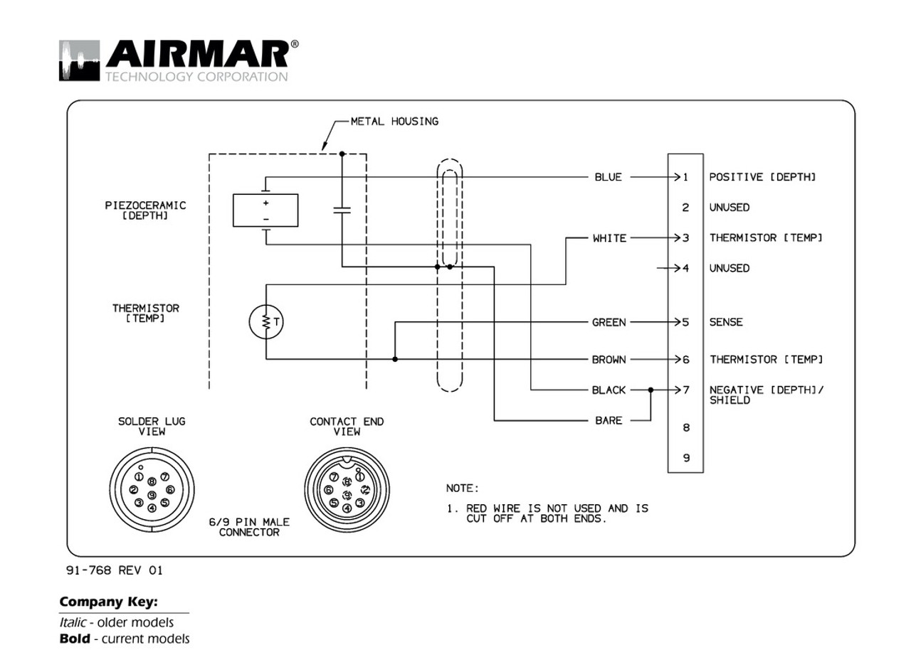 medium resolution of depth temperature transducers with raymarine 6 9 pin connector raya