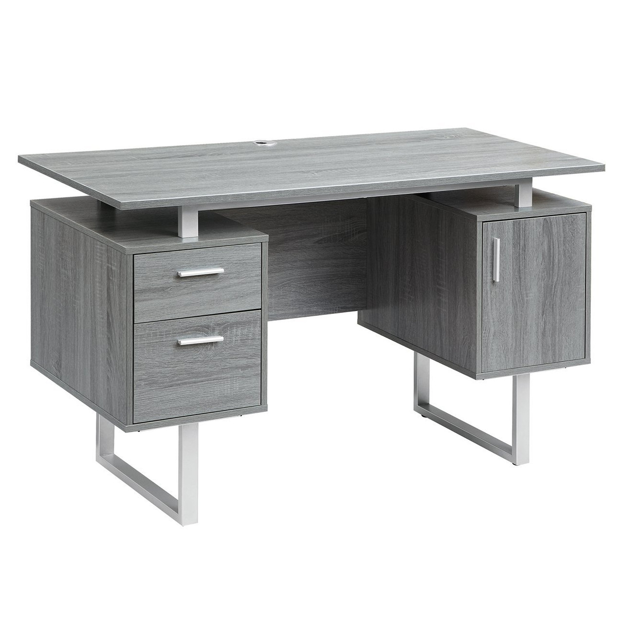 modern white glass top office desk with storage rta 7002 gry