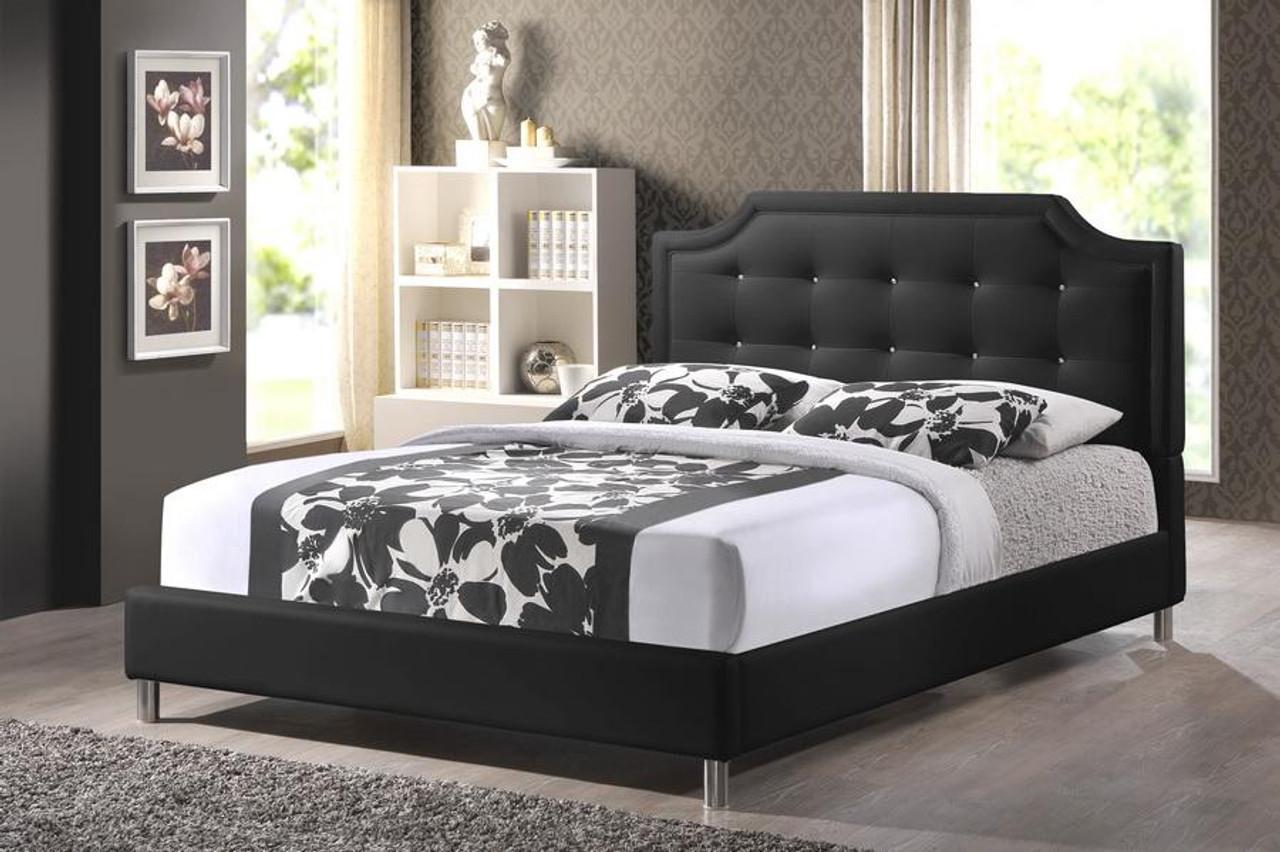 Baxton Studio Carlotta Black Bed With Upholstered Headboard Queen Bbt6376 Black Queen
