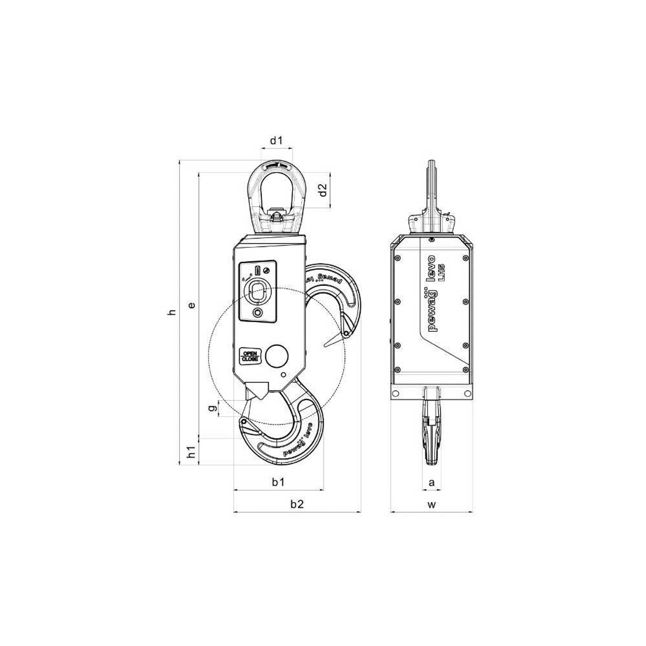 medium resolution of  lh5 pewag levo hook lh drawing