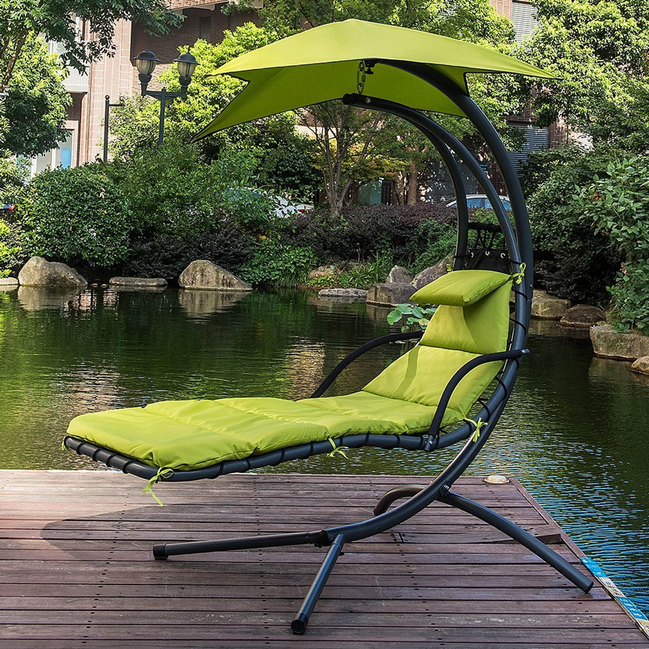 outdoor dream chair lift rentals apple green lazy daze hammocks with umbrella hanging chaise lounge arc curved hammock